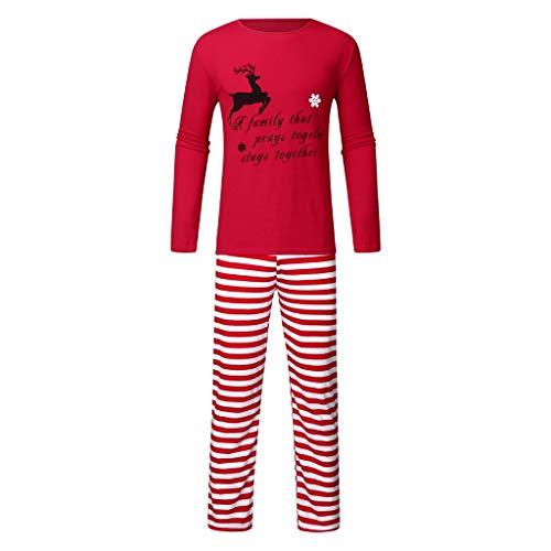Weihnachten Herren Damen Kinder Buchstaben Elk Print Tops T-Shirt + Striped Print Hosen Nachthemd Schlafanzug Familie Weihnachten Langarm Christmas Pyjama Set Nachtwäsche Hausanzug (Daddy, 2XL)
