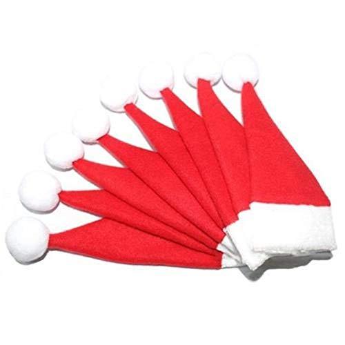 HENGSONG 10 Stück Weihnachten Tischdeko Weihnachtsmann Hut Bestecktasche Besteckbeutel Besteckhalter für Weihnachten Deko