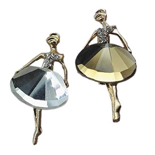 2piece Muchacha Hermosa del Encanto De La Princesa De La Bailarina De Cristal Broche Accesorios De Joyería Blanco Y Café