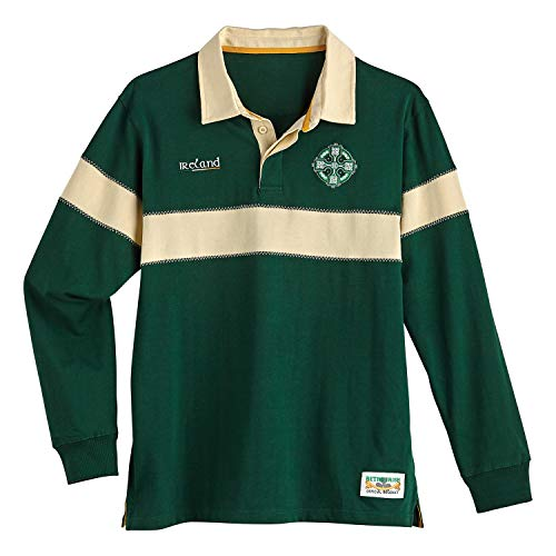 Men's Ireland Rugby Jersey Shirt - Green and Ivory Sport Top with Celtic Cross - XXL