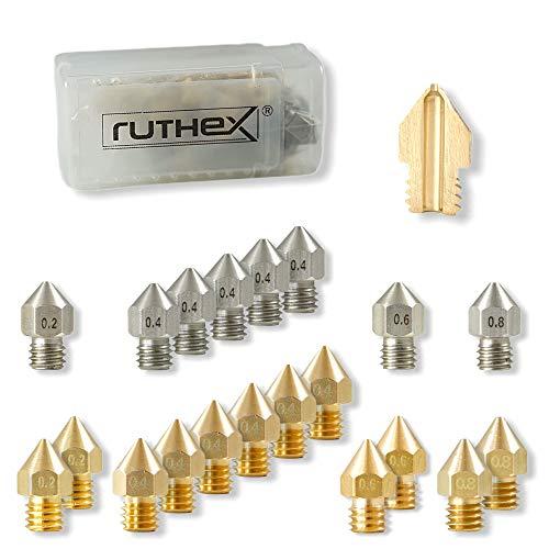 ruthex Set de 20 boquillas Nozzle MK8 para impresora 3D - 12 de latón + 8 de acero inoxidable para filamento 1,75 - para Hotend Mk8 como Creality Ender 3/5/CR-10 | Anet A8 | MakerBot | bq | CraftBot