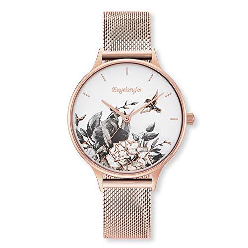 Engelsrufer - Damen Uhr Blume in Rosegold mit Meshband, moderne Armbanduhr mit Blumenmuster, filigrane Damenuhren mit Perlmutt Ziffernblatt, Frauen Vintage Metallarmbanduhr