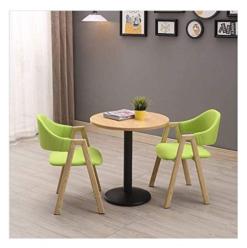 Leisure Minimalist Table and Chair Set 4 Modern Home Kitchen 60cm Study Reception Wooden Table Simple Balcony Negotiating Small Round Table Courtyard Metal Legs Cotton and Linen Chair Sponge Cushion D