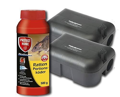 Köder-Discount Sparset Rattenbekämpfung - 2 Köderboxen Plus 500g Rodicum Rattengift zum Auslegen. Rattenköderstation Rattenbekämpfung Giftköder für Haus, Garten, Industrie
