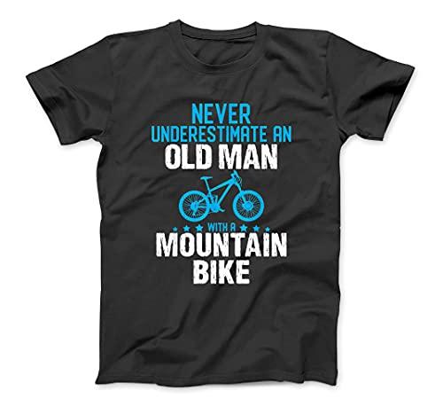 Never Underestimate Old Man with A Mountain Bike T-Shirt Sweatshirt Hoodie Tanktop for Men Women Kids Black