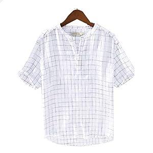 メンズ リネンシャツ ゆったり カジュアル 半袖 チェック柄 シャツ ヘンリーネック 通気 ファッション シャツ おしゃれ シンプル 無地 上着 コットン たて襟 麻混 長袖 七分袖 ストレッチ M-3XL