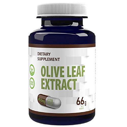 Olive Leaf Extract 450mg 120 Vegan Capsules with 40% Oleuropein 180mg, Immune System, Antioxidant, Rich in Polyphenols