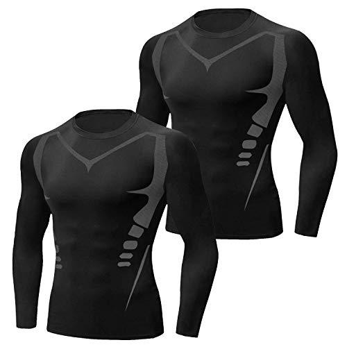 Sykooria 2 Pack Camiseta de Compresión Deportiva para Hombre Ropa Deportiva de Manga Larga Transpirable Secado Rápido Correr Entrenamiento Ciclismo