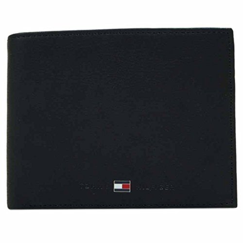 Tommy Hilfiger, portafoglio Johnson Trifold in vera pelle e di colore nero, da uomo, codice articolo BM56923251-990