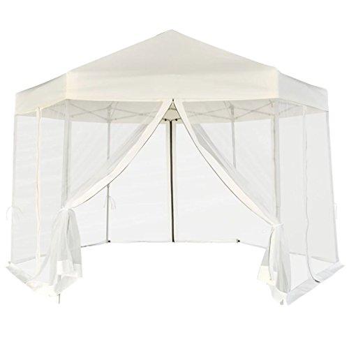 Festnight Partytent pop-up zeshoekig Waterdichte Canopy Garden Gazebo Marquee Tent voor Outdoor Wedding Garden Party met 6 zijwanden 3,6x3,1 m crèmewit
