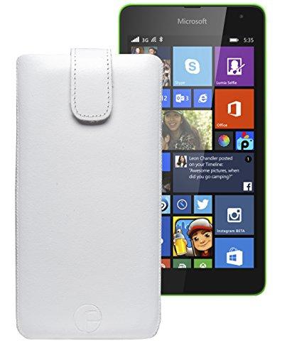 Original Favory ® Etui Tasche für / Microsoft Lumia 435 - Microsoft Lumia 532 Dual Sim / Leder Etui Handytasche Ledertasche Schutzhülle Hülle Hülle *Lasche mit Rückzugfunktion* In weiss