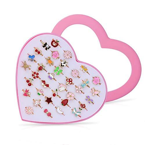 Diealles Shine Vordas 36 Pièces Bagues pour Enfants, Ensemble de Bagues Petites Filles avec Boîte De Coeur Rose, Super Jolie et Belle Présentation pour Un Cadeau à Une Petite Fille