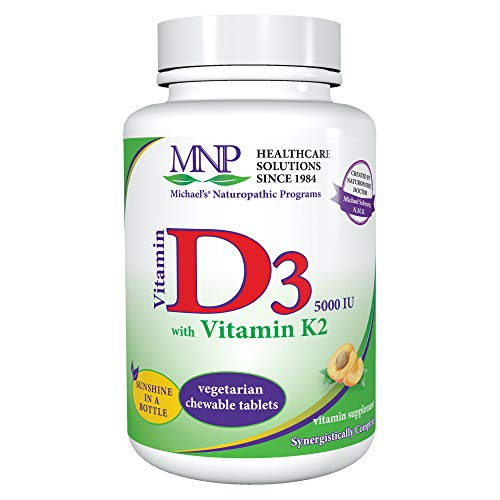 Michael's Naturopathic Programs Vitamin D3 with K2-5000 IU, 90 Chewable Tablets - Apricot Flavor - Skeletal & Immune System Support Supplement - Vegetarian, Kosher - 90 Servings