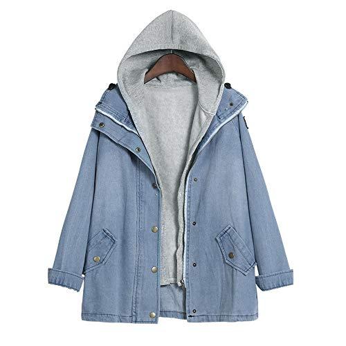 Sumeiwilly-Damen Mäntel Winter Frauen Warm Collar Kapuzenmantel Jacke Denim Trench Parka Outwear Mit Kapuze Cowboy Weste Zweiteiliger Anzug