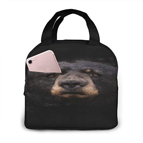 BONRI Eye Contact Black Bear Bolsa de almuerzo con aislamiento portátil Bolsa de almuerzo con aislamiento reutilizable, lonchera portátil, bolsa de almuerzo, bolsa de almacenamiento
