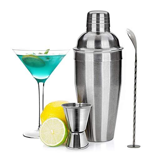 Kit Cocteleria Martini de 3 Piezas, kit de barman con medidor y cuchara mezcladora, Acero Inoxidable