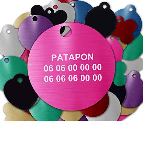 Gravure Concept Médaille pour Chien Et Chat À Personnaliser – Médaillon Gravé 31 mm - 1 à 3 Lignes – 8 Couleurs Disponibles (Rose, Rond)