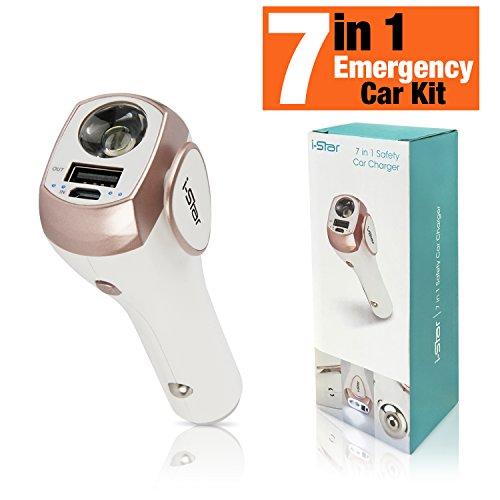 Auto-oplader, USB 7 in 1, multifunctionele adapter met led-zaklamp, powerbank, noodlicht, persoonlijk alarm, vensterbreker, gordelsnijder en USB-oplader voor iPhone, Samsung enz.