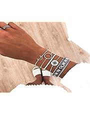 Cathercing Zilveren Armband Set voor Vrouwen Meisjes Sieraden Armband Strand met Maan Tribal Boho Armband Enkelset Verstelbare Handgemaakte Dagelijkse Sieraden Gift voor Tiener Meisjes (5 Pack)