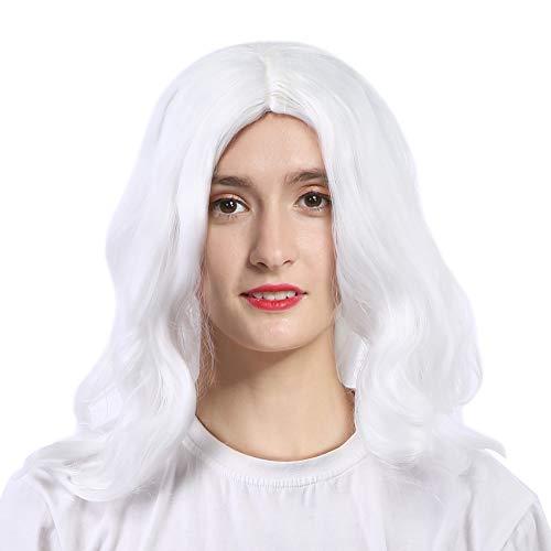 Pelucas para Navidad, Peluca de Pap Noel Cosplay Pelucas de disfraces Pelo sinttico Pelucas onduladas largas y rizadas de color blanco Regalo de Navidad Suministros