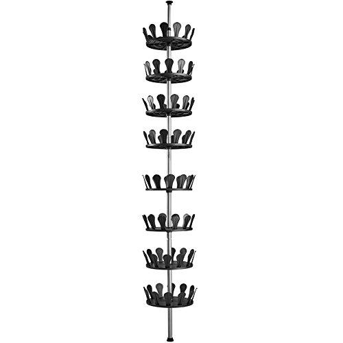 TecTake Schuhkarussell Schuhregal Teleskopregal höhenverstellbar Ebenen drehbar bietet Platz für bis zu 96 Schuhe Höhe max. 300 cm