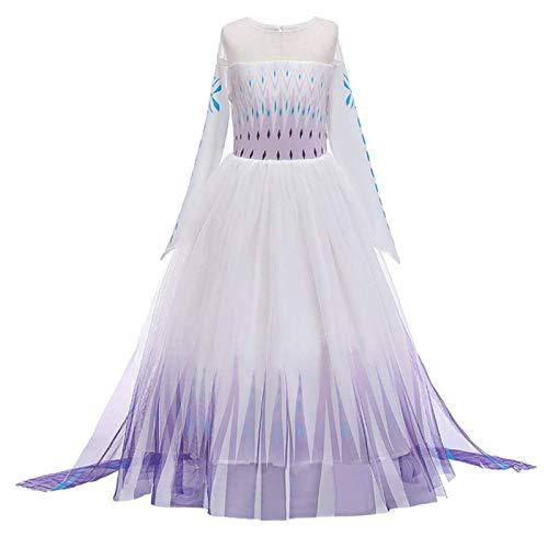 O.AMBW. Mädchen Prinzessin Eiskönigin ELSA 2 Kostüm Kleid Ankleiden Karneval Halloween Cosplay Fasching Faschingkostüm 2-9 Jahre