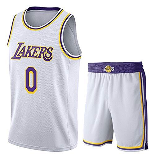 Basketball Trikot Herren NBA Basketball Trikot Lakers 0# Kyle Kuzma, Atmungsaktives, Verschleißfestes Besticktes Sweatshirt T-Shirt + Shorts,Weiß,XXL