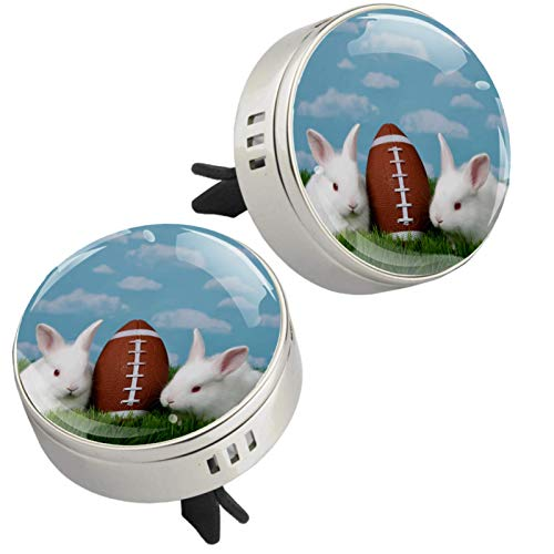 Z&Q Best Scents Diffusers Rabbit Rugby Car Aromatherapy Essential Oil Diffuser with Air Vent Clip 4 PE supplementary pad Set 2 pack 1.33inX1.83in