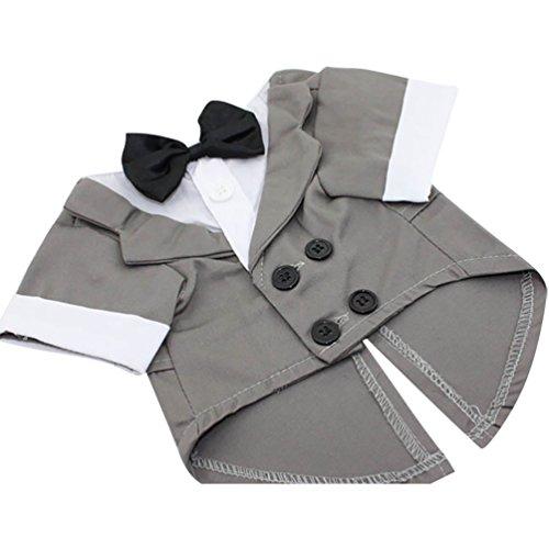 YiJee Pet Vêtements de Costume pour Petits Animaux d'hiver Manteau Chaud avec Nœud Papillon Gris XL