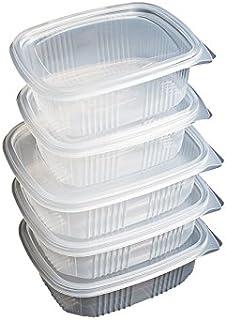 Pack de 50 recipientes desechables con tapa, para alimentos