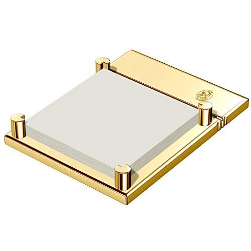 Soporte para notas adhesivas, latón macizo chapado en oro de 23 quilates, pulido a mano