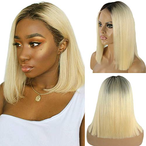 Ombre Blonde Human Hair Bob Lace Front Wigs Brazilian Glueless Lace Frontal Wig 2 Tone 1B/613 Straight Remy Hair for Black Women Pre Plucked Bleached Knots Lace Wig 12'