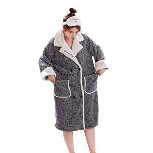 LaoZan Damen Langarm Schlafanzüge Nachthemden Bademantel Morgenmantel Warme Nachtwäsche Pyjama zum Knöpfen (Grau, Asia L)