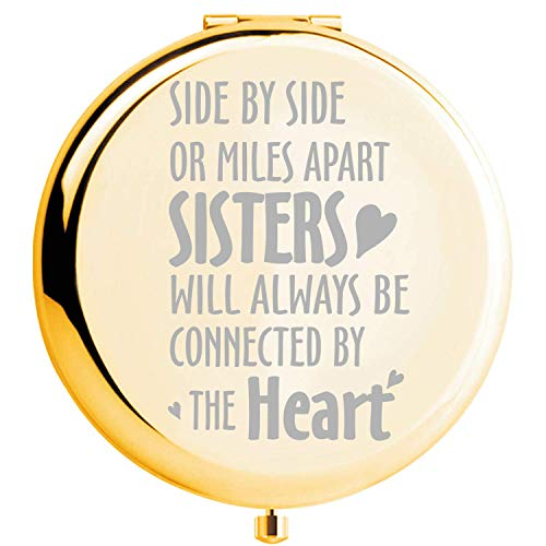 Fnbgl Sister Gifts from Sister Side by Side or Miles Apart Sisters Inspirational Compact Mirror Gold Sister Birthday Gift, Funny Ideas for Big Little Sister, Soul Sister, Best Friend