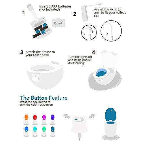 RainBowl Motion Sensor Toilet Night Light – Funny Unique Gift Idea for Him, Her, Men, Women & Birthday Kid – Cool New Gadget, Perfect as a Fun Gag Retirement Present