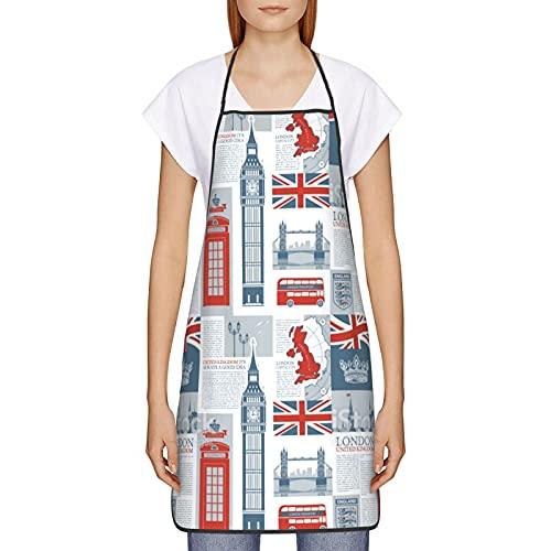 WXM Delantal de cocina con la bandera británica del Reino Unido y Londres, para el otoño, invierno, Halloween, Acción de Gracias, para cocinar 20,5 x 28,7 cm