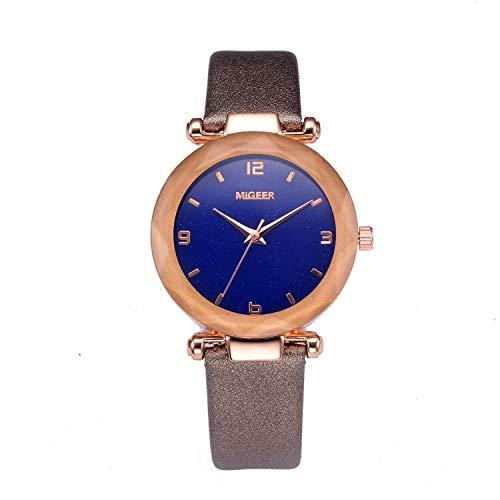 UINGKID Damen Armbanduhr Analog Quarz Mode Convex Glas Leder Uhren Hochwertige Uhr Armbanduhr