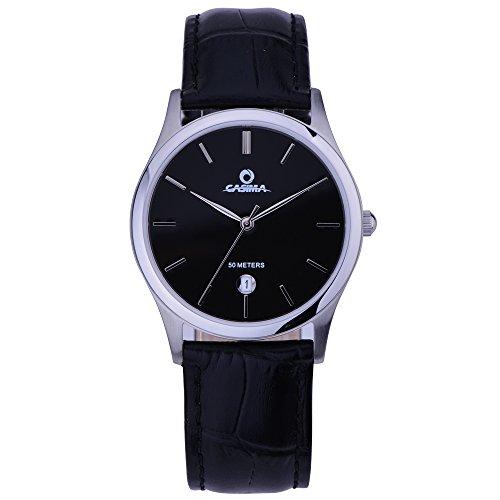 Casima Hombres de cuarzo reloj de pulsera reloj de cuarzo banda de cuero negro reloj cr-5124SL7