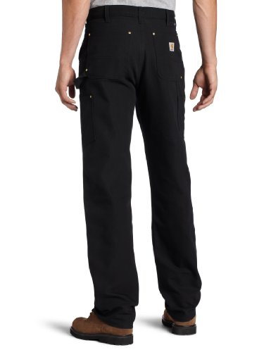 Carhartt Men's Firm Duck Double-Front Work Dungaree Pant B01, Black, 33W X 34L