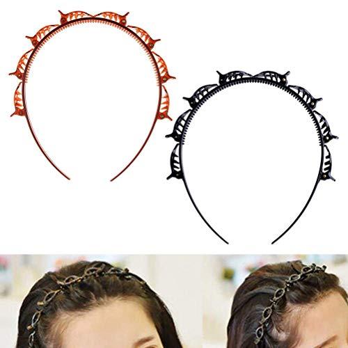 Doppelknall Frisur Haarnadel, 2 Stück Frisurenhilfe Haarreif mit Klammern Rutschfeste Haarband Bangs Haarklammer Haarnadel Hohl Gewebtes Stirnband für Frauen Mädchen
