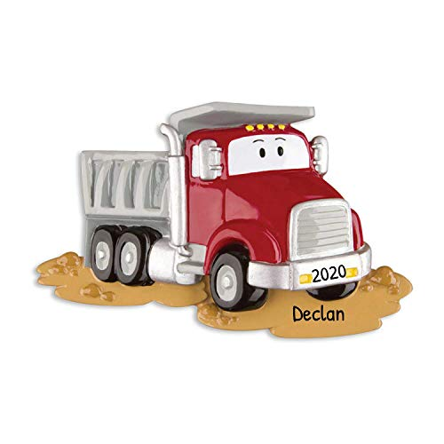 Personalized Dumptruck Christmas Ornament - Red Mighty Lift Toy Machine with Eyes - Tonka Caterpillar Construction Boy Toddler Holiday Disney Pixar Cars Colossus XXL Kid - Free Customization