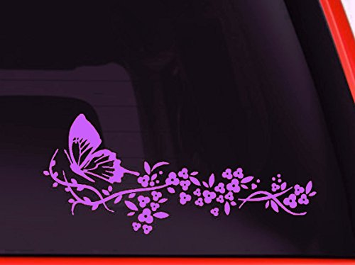 LA DECAL Flower and Butterfly, beautiful nature Decal Stickers Car Window Truck laptop 8' (Lavender)