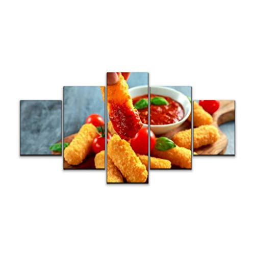 5 panels Wall Art Print On Canvas Breaded mozzarella cheese sticks in man hand with tomato basil sauce Modern Abstract Picture Poster for Home Decor Stretched and Framed Ready to Hang (60''Wx32''H)