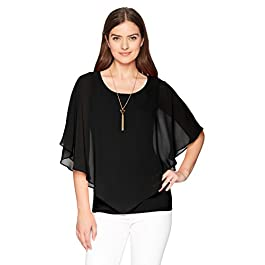 AGB Women's V Front Popover Top with Necklace Blouse