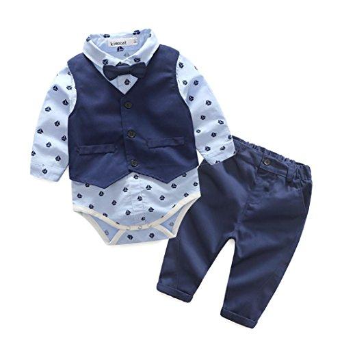 LuckyGirl Ensemble Garçon Bébé 3pc Combinaison Chemise Tops Imprimé Romper+ Gilet + Pantalons Pull Longues Manches Haut Sweat-Shirt Printemps- 6~24 Mois (Âge:24 Mois, Bleu)