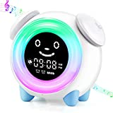 Kids Alarm Clock for Kids, 7 Color Night Light, Sunrise Sunset Simulation, Adjustable Brightness of Screen, OK to Wake Clock for Bedroom Toddler Boys Girls