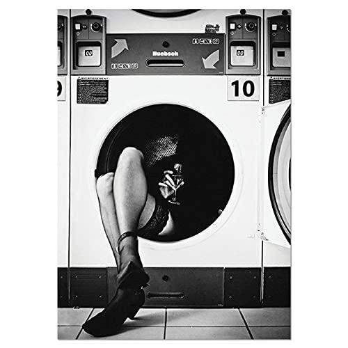 Aawerzhonda Lona Pared Arte Póster nórdico en Blanco y Negro impresión artística de Pared Perfume Imagen de Mujer para Sala de Estar decoración del hogar de Moda Vintage 60x90cm