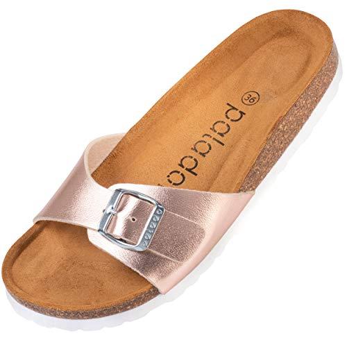 Palado® Damen Sandale Malta | Made in EU | Pantoletten in vielen sommerlichen Farben | 1-Riemen Sandaletten mit Kork-Fussbett | Frauen Hausschuhe mit Leder-Laufsohle Rose Matt 37 EU