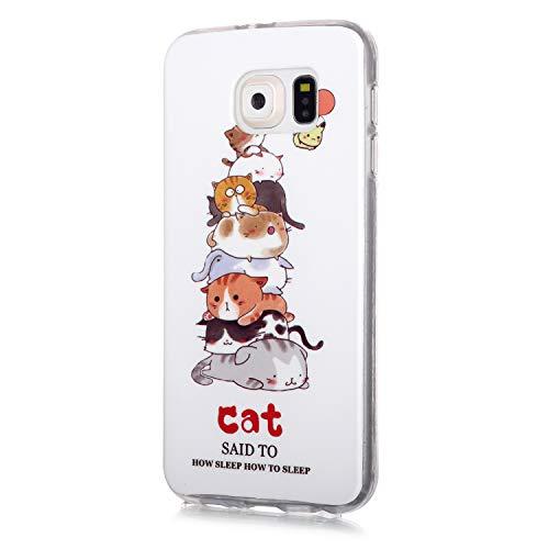 Fatcatparadise Funda para Galaxy S6 Edge [con Protector Pantalla], Carcasa Silicona Claro de Luna Protector TPU Suave Anti-Choque Ultra-Delgado Funda para Apple Samsung Galaxy S6 Edge(Gato)