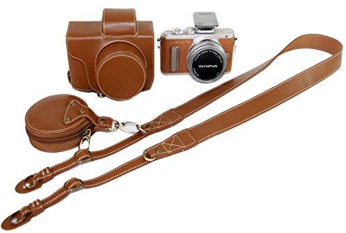 Schützender PU-lederner Kamera-Kasten-Beutel für Olympus PEN Lite E-PL8 EPL8 mit 14 - 42mm EZ F3.5-5.6 Objektiv mit Bügel-Gurt und Speicherkarten-Kasten Brown
